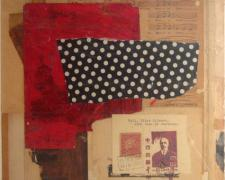 in the moonshine, 2010, mixed media collage on museum board, 13 1/2 x 11""