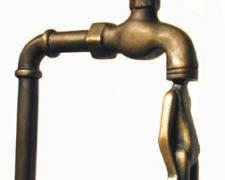 Man with Faucet 1991 Cast bronze 19 x 6 1/4 x 10 3/4""