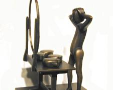 Man Trying On Heads, 1991, cast bronze, 10 7/8 x 7 x 7 7/8""