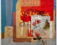 question 2003 mixed media collage on museum board 8 1/4 x 6""