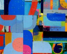imple Arithmetic 2006 acrylic collage on museum board 18 1/2 x 16""