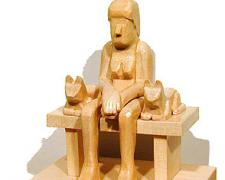 Woman With Two Cats 2003 Pine 6 x 5 x 4""