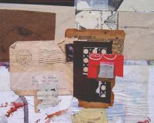 in the shadow of doubt, 2007, mixed media collage, 10 1/2 x 8 1/2