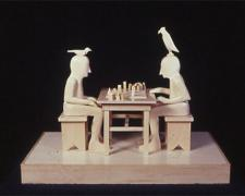 Two Men Playing Game, 2001, wood, 7 3/4 x 10 3/8 x 6 3/8""