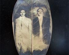 "Ann Johnson, ""Steel Brothers"", 2011, mixed media, intaglio on magnolia leaf, found objects, 5 x 7"""