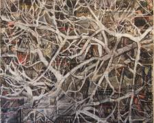 Tangles, 2010, acrylic, oil stick over collaged print matter/canvas, 60 x 55""