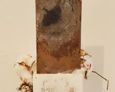 "Ann Johnson, Buck, 2021, transfer print, embossing, found objects, 16 x 11 x 5"""