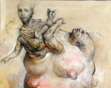 """Acretive Figure, 2011 graphite, ink, and acrylic on paper, 10 3/8 x 7 1/2"""""""