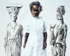 Acropolis Girl Olowe, 2005, mixed media on paper, 42 x 30""