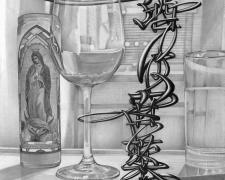 """酒は百薬の長_Alcohol is the best medicine of all, 2017, graphite on paper, 14 x 21"""""""