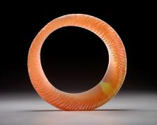 Amber Sun Ring, cast and cut glass, 21 x 21 x 4""