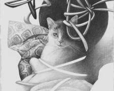 """目に入れても痛くない_Apple in the eye, 2017, graphite on paper, 7 3/4 x 17 1/4"""""""