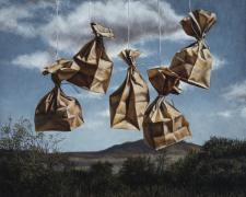 """Bagscape, 2015, oil on canvas, 30 x 30"""""""