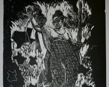 Big Apparition, 2015, woodcut, 60 x 36""