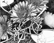 """知らぬが花  Blissful Ignorance, 2018, graphite on paper, 15 x 21 1/4"""""""