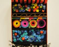 """An Aggregate of All Things, 2016, brooch, mixed media, painted copper, sterling, 2 x 1 1/2 x 3/4"""""""