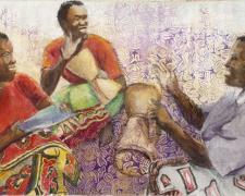 "Chamwino Drummers, 2011, mixed media, 12 x 18 3/4"""