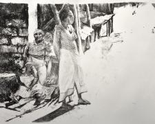 """Chamwino Waiting, 2017, lithograph, 14 x 20"""""""