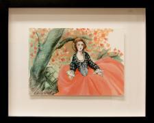 "Stephanie Mercado, ""Cherry"", 2011, gouache, carbon pencil on board, f.s 11 x 13 1/2"" / i.s. 5 3/4 x 8 1/4"""