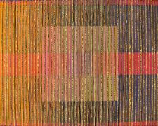 "Chromatic Interference #13, 2016, cardboard, paper, wood, aluminum, 22 x 22 x 1 1/2"""