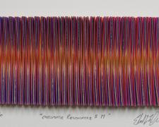 "Chromatic Resonance #11, 2016, paper, foiled card, i.s. 2 1/2 x 5 1/2 x 1/2"" / f.s. 12 x 15 x 1 1/2"""