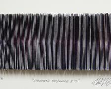 "Chromatic Resonance #13, 2016, paper, deep dyed polyester, i.s. 2 1/4 x 5 1/4 x 1/2"" / f.s. 12 x 15 x 1 1/2"""