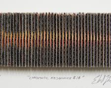 "Chromatic Resonance #14, 2016, paper, cardboard, postcards, i.s. 2 x 5 1/4 x 1/2"" / f.s. 12"" x 15"" x 1 1/2"""