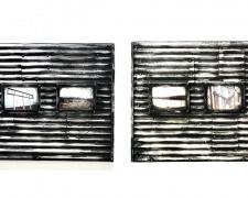 "Factory Panel (diptych), 2018, ceramics, mixed media, 48 x 24 x 3"""