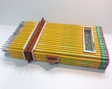 Box #6, Ticonderoga #2, pencils and found objects, 11 1/2 x 7 x 2 1/4""