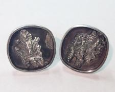 Canyon Suite, Cufflinks, 2018, sterling, cuttlebone cast sterling, 1 x 1 x 1""