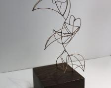 Flight, Line Drawing #9, 2018, patinated bronze, lignum vitae, 6 x 4 1/4 x 12""