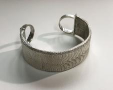 "Edward Lane McCartney, ""Formation, Alluvial"", 2020, cuff bracelet: sterling, cuttlebone cast coin silver, 2 x 7/8 x 2 1/2"""