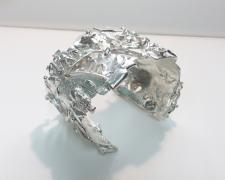 "Edward Lane McCartney, ""Formation, Conglomerate"", 2018, cuff bracelet: sterling, fine silver, reticulation silver, 2 x 2 3/4 x 1 3/4"""