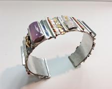 "Edward Lane McCartney, ""Loloma I"", 2017, cuff bracelet: sterling, brass, copper, moonstone, lavender chalcedony, 1 1/8 x 2 1/2 x 2"""