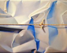 Wrapped and Stringed Blue/Grey Landscape, 2004, oil on canvas, 15 3/4 x 25 1/2""