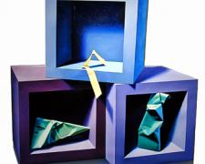 Three Cubes with Paper Objects, 2003, oil on canvas, 31 1/4 x 32 1/2""