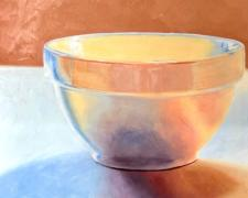 "Ellen Berman, ""White Bowl"", 2019, oil on board, 12 x 16"""