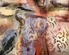 """Erato, 2016, photomontage and acrylic on wood panel, 28 x 21 x 2"""""""