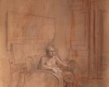 Figure in Studio, 2012, red chalk, graphite, and acrylic on paper, 14 x 10 1/2""