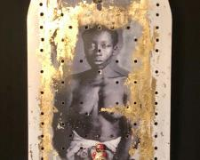 Yes I am my ancestors, 2020, transfer print, gilding, 13 1/2 x 53 x 35 1/2""