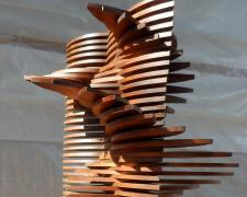 "Gale,1997, pine, 49 3/4 x 25 x 25"""