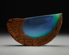 Green Blue Half Moon, cast and cut glass, fused steel, 12 x 21 x 3""