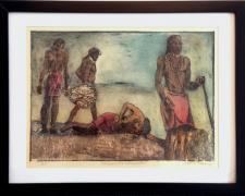 "Massai (Dance Performance I), 2014, drypoint print, chine-collé, watercolor, i.s. 15 1/4 x 20 1/2"" / f.s. 20 1/2  x 26 1/2"""