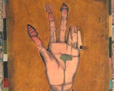 The Hand, 2018, intaglio, hand color(watercolor), relief, collage, i.s.18 3/4 x 12 1/2""