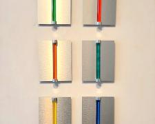 "Chromolight 10MCH-6, 2018, spray enamel on acrylic rods over aluminum, group: 39 x 19"" / individual: 10 x 8"""