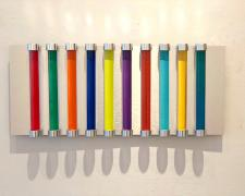 Chromolight 10MC10-6, 2018, spray enamel on acrylic rods over aluminum, 11 x 24 1/2""