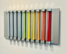 Chromolight 10MC10-5, 2018, spray enamel on acrylic rods over aluminum, 11 x 24 1/2""