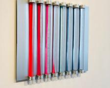Chromolight 16PB8-1, 2018, spray enamel on acrylic rods over aluminum, 16 1/2 x 20 1/4""