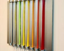 Chromolight 16MC8-2, 2018, spray enamel on acrylic rods over aluminum, 16 1/2  x 20 1/4""