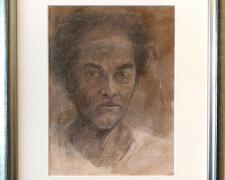 "Self-Portrait (study), 2017, acrylic wash, crayon, graphite on paper, i.s. 9 5/8 x 7 1/8"" / f.s. 15 x 12 3/8"""